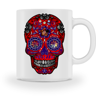 Funny Mexican Sugar Skull red