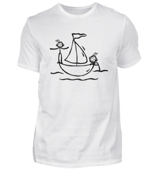 Kleines Segelboot mit Mannschaft