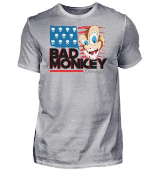 Bad Monkey USA Flagge lustig Totenkopf