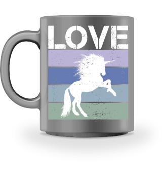 Stripes - LOVE - Tattoo Unicorn - white