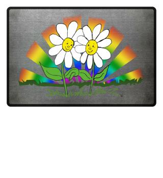 Fußmatte Blumen mit Regenbogen