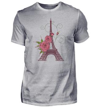 Eiffel Tower Flowers Rose Paris France