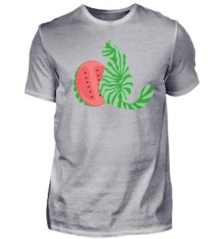 Wassermelone und Katze im Melonen-Look