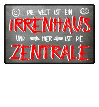 Irrenhaus Zentrale Fußmatte & Tasse