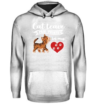 cat paw prints love heart - gift