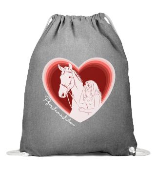 Pferdemädchen Herz Gymbag