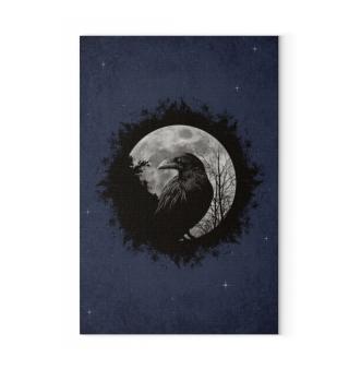 Schwarze Krähe mystischer Vollmond Rabe