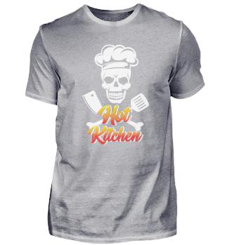 Grillen Heiße Küche Shirt Schädel