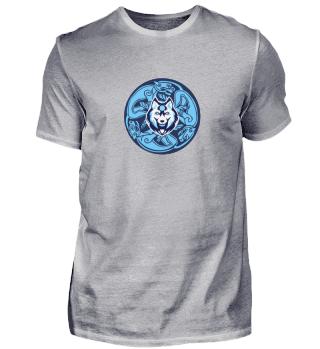 blauer und weißer keltischer Wolf