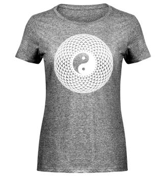 Yin Yang Triangle Mandala - weiss