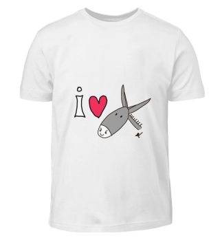 Kinder T-Shirt I LOVE DONKEYS