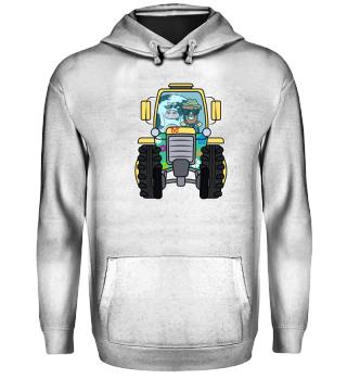 Landwirt · Traktor · Landwirt und Kuh