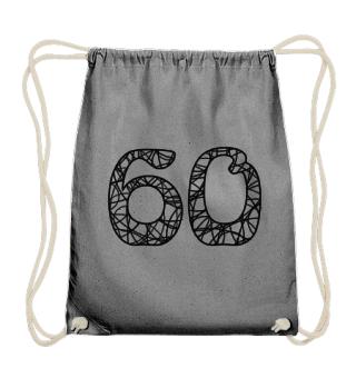 Geburtstag 60 ausmalen - schwarz