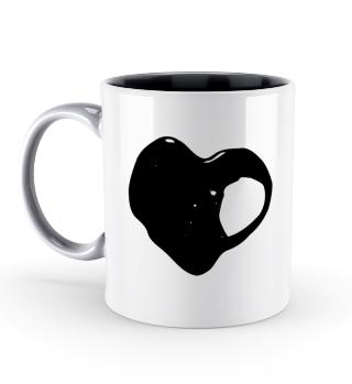 Tasse zweifarbig Liebe Herz schwarz weiss