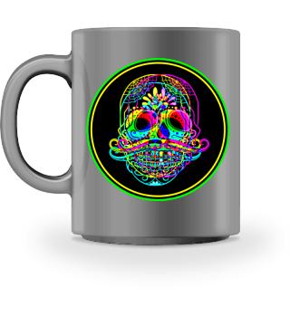 Psychedelic Neon Skull Mustache Button
