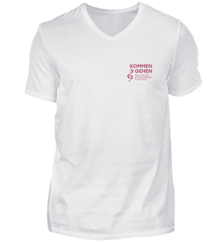 Kommen und Gehen - V-Neck-Shirt mit Logo