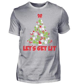 CHRISTMAS LETS GET LIT T-SHIRT