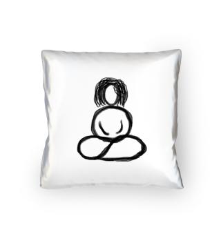 Satinkissen Buddhafrau schwarz auf satin Meditation Yoga Zen