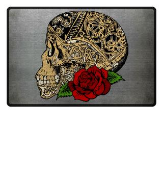 Vintage Skull Ornaments Rose