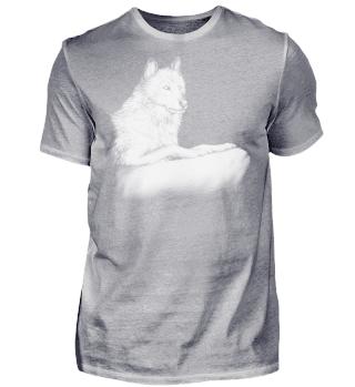 Zeichnung Wolf liegend schwarz weiß