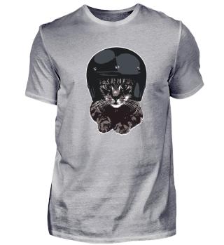 Motorbike Cat with Helmet | CAT TEES