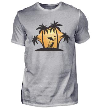 Palmenstrand mit Sonnenuntergang