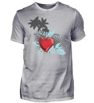 Sommer Shirt Palmen Herz