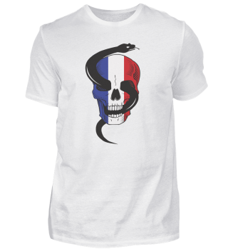 France Skull with snake and flag French
