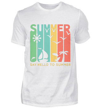 SAY HELLO TO SUMMER Herren Basic T-Shirt