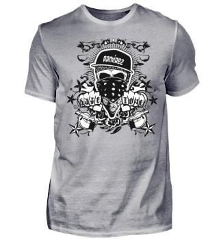 Herren Kurzarm T-Shirt Hate Love BW Ramire