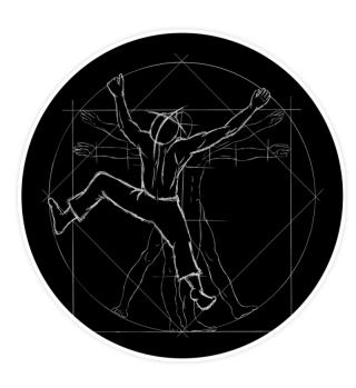 Vitruvian Boulderer Kletterer Sticker