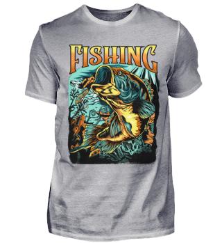 Angeln Angler Fishing Barsch Grafik