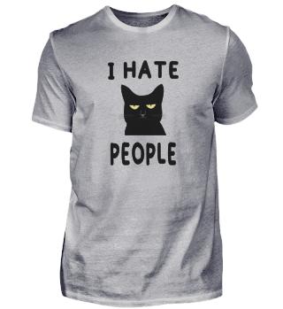 I Hate People Black Cat