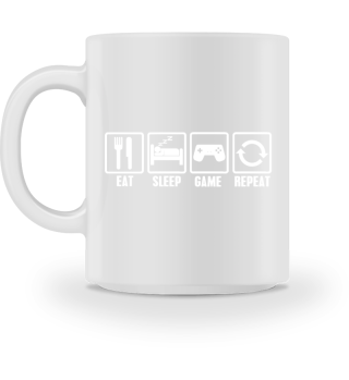 Eat Sleep Game Repeat Guten Morgen Tasse