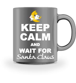 Keep Calm Wait For Santa Claus - white