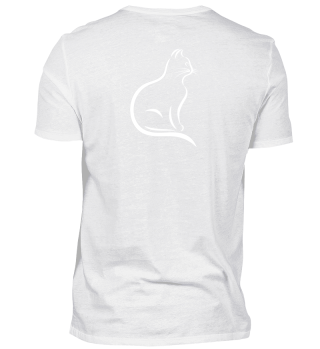 stylish white cat logo T-Shirt