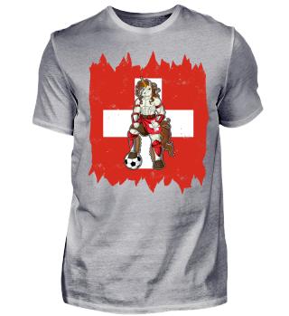I Switzerland Einhorn Fussball Schweiz T-Shirt WM Shirt Nationalmannschaft Fanshirt Länder