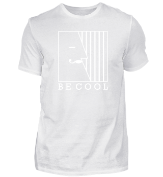 BE COOL Vintage Mustache Face - white