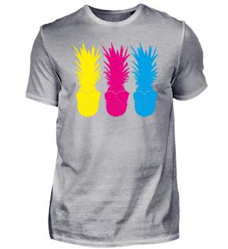Pop Art Ananas 3 Neon Farben Früchte