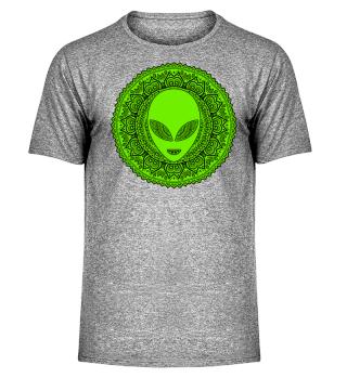 Ethnic Folklore Mandala - Green Alien II