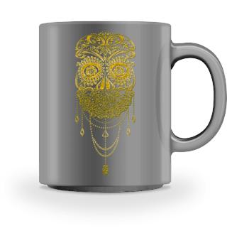 Skull Dotwork Face Veil tattoo - gold