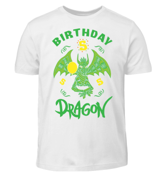 Birthday Boy 5 Dragon T-Shirt Funny Gift