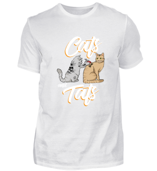 Funny Cat Gift Here Cute Cats and Tats T-Shirt