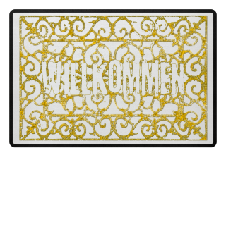 Vintage Ornament Willkommen - gold