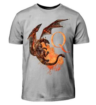 Drachen Buchstabe Q(Kinder T-Shirt)