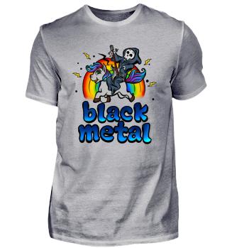 Black Metal Einhorn Pony Regenbogen