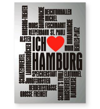 ★ Ich Liebe HAMBURG - schwarz Poster