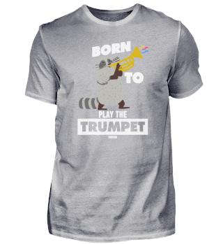Cool raccoon plays trumpet