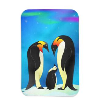 Fleecedecke mit Pinguin - Familie