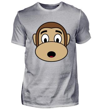 Affe der ein erstauntes Gesicht macht